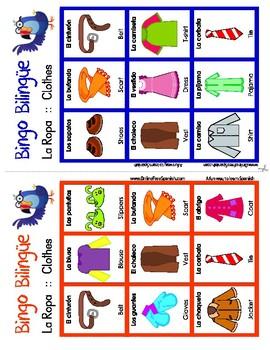 Clothes - La ropa - Bingo Bilingüe - Bilingual bingo