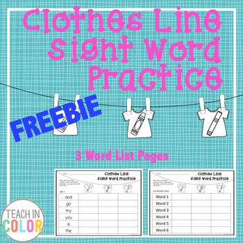 Clothes Line Sight Word Activity // FREEBIE