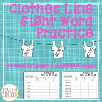 Clothes Line Sight Word Activity with EDITABLE version