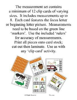 Clothes Pin Clip Cards - Measurement - By the Alphabet - Focus Letter L