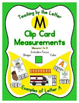Clothes Pin Clip Cards - Measurement - By the Alphabet - Focus Letter M