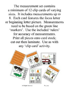 Clothes Pin Clip Cards - Measurement - By the Alphabet - Focus Letter Y
