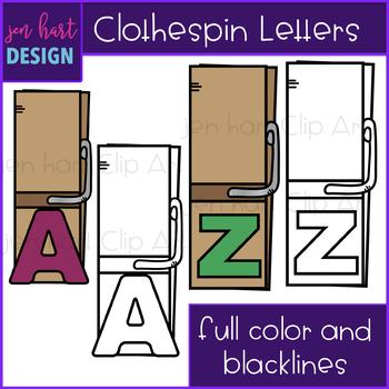 Alphabet Letters Clip Art -Clothespins {jen hart Clip Art}