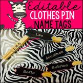 EDITABLE Clothes Pin Name Tags