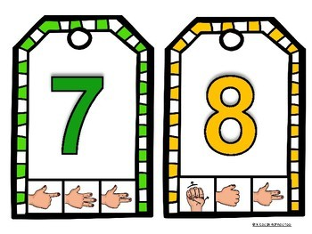 Clothespin Number Cards -Food Edition with Auslan Number signs