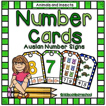 Clothespin Number cards -Animals and insects Edition with Auslan Number signs