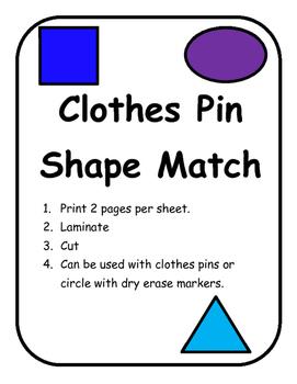 Clothes Pin Shape Match