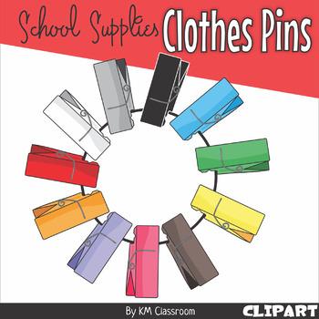 Adaptable Clothes Pins Clip Art
