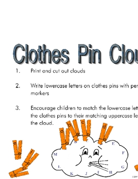 Clothes Pins Clouds Activities