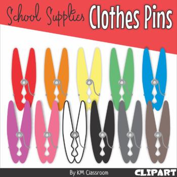 Clothes Pins Rainbow Clip Art