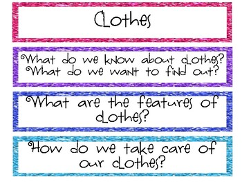Clothes Study Questions of the Week & Word Wall