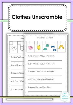 Clothes Unscramble