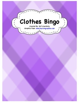 Clothes Vocabulary Bingo