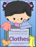 "ESL Resources: Vocabulary+Conversation ""Clothes"" Building Cards- ELL Newcomers"