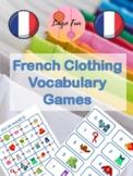 Clothes Vocabulary Dice Games French / Jeux de Vocabulaire Vêtements