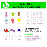 Clothes Vocabulary Flashcards / Matching Cards / Laundry Game