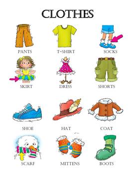Clothes Vocabulary Grade 1