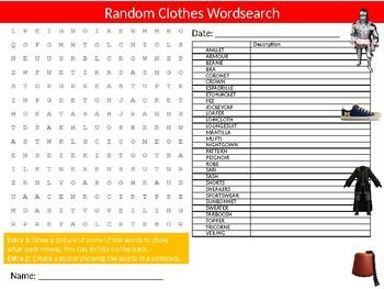 Clothes Wordsearch Sheet Cartoon Starter Activity Keywords Fabric Textiles