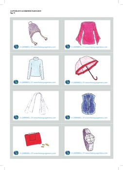 Clothes and accessories picture flash cards