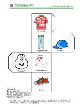 Clothes: dice game