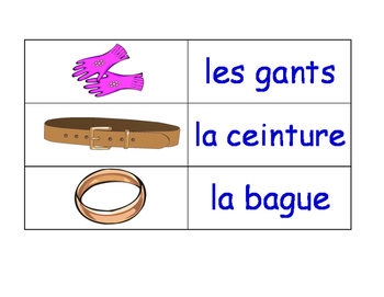 Clothes in French Flash Cards