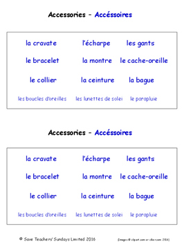 Clothes in French Worksheets
