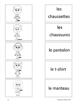 Clothing Activities and Games in French - Les Vêtements en Français