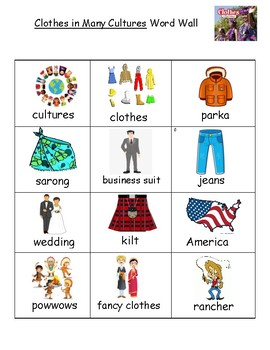 Clothes in Many Cultures Word Wall