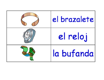 Clothes in Spanish Flash Cards