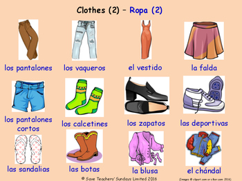 Clothes in Spanish Posters / Slides