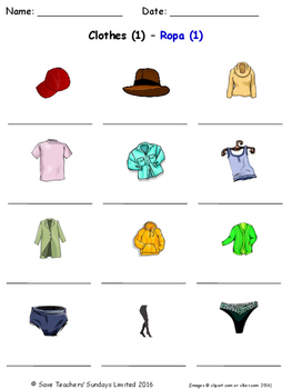 Clothes in Spanish Worksheets
