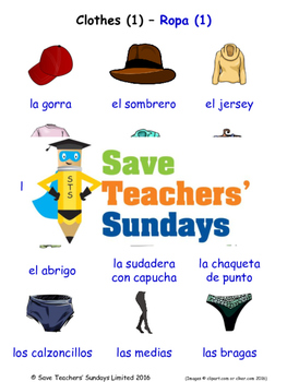Clothes in Spanish Worksheets, Games, Activities and Flash Cards (1)