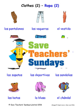 Clothes in Spanish Worksheets, Games, Activities and Flash Cards (2)