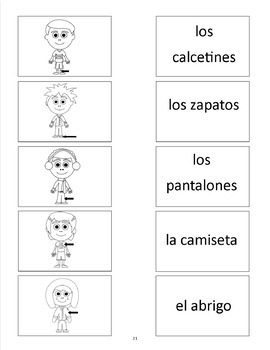 Clothing Activities and Games in Spanish - La Ropa