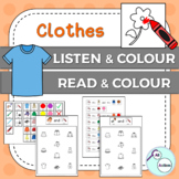 Clothes listen & colour/read & colour for Autism & Special Ed - Aus/UK version