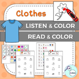 Clothes listen & color/read & color for Autism & Special Education - US version
