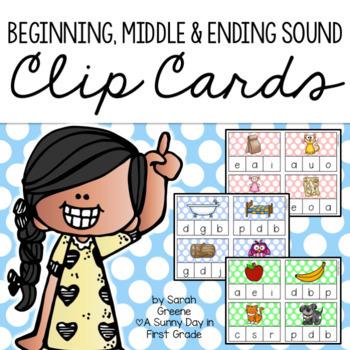 Beginning, Middle & Ending Sound Clip Cards