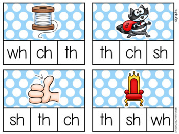 Digraphs & Beginning Blends Clip Cards