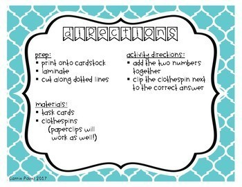 Clothespin Addition: 0-10 Task Cards