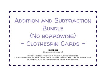 Clothespin Addition and Subtraction Cards
