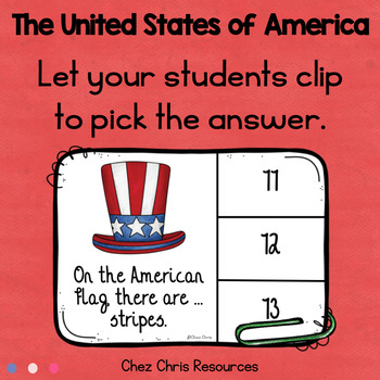 Clothespin Clip Cards - The United States of America