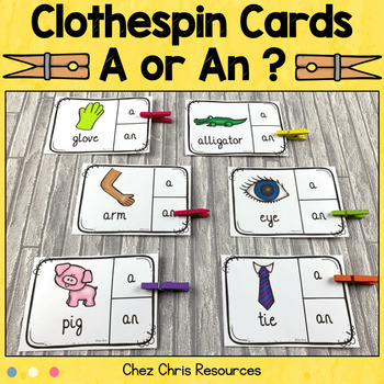 Clothespin Clip Cards - Indefinite Articles