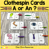 Grammar Determiners (Articles) A / AN Clothespin Clip Cards