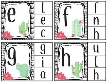 Clothespin Clip Cards-Lowercase to Lowercase-cactus