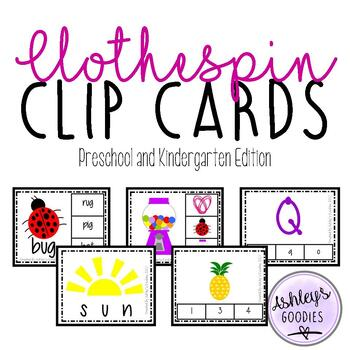 Clothespin Clip Cards- Preschool and Kindergarten Edition