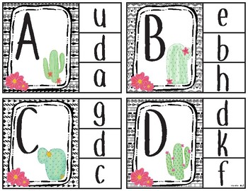 Clothespin Clip Cards-Upper to Lowercase-cactus