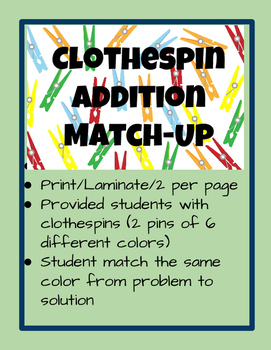 Clothespin Color Addition Match Up