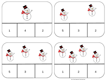 Clothespin Counting Task Cards : Winter Edition Level 1