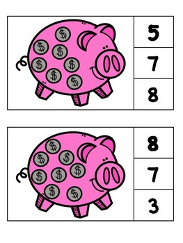 Clothespin Counting Piggy Banks