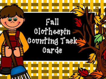 Clothespin Counting Task Cards : Fall Edition Level 1